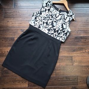 Tahari luxurious black dress w/ metallic overlay